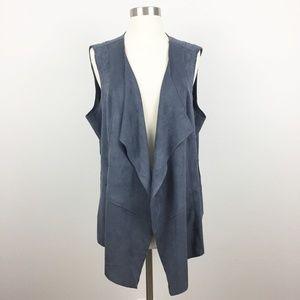 LOGO Faux Suede Draped Front Vest Twilight Gray